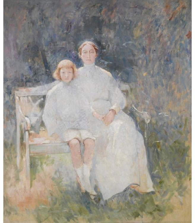 Emil Carlsen Portrait Study of the Artist's Wife and Son, Dines (also called Mother and Child & Dines and Mrs. Carlsen), 1912