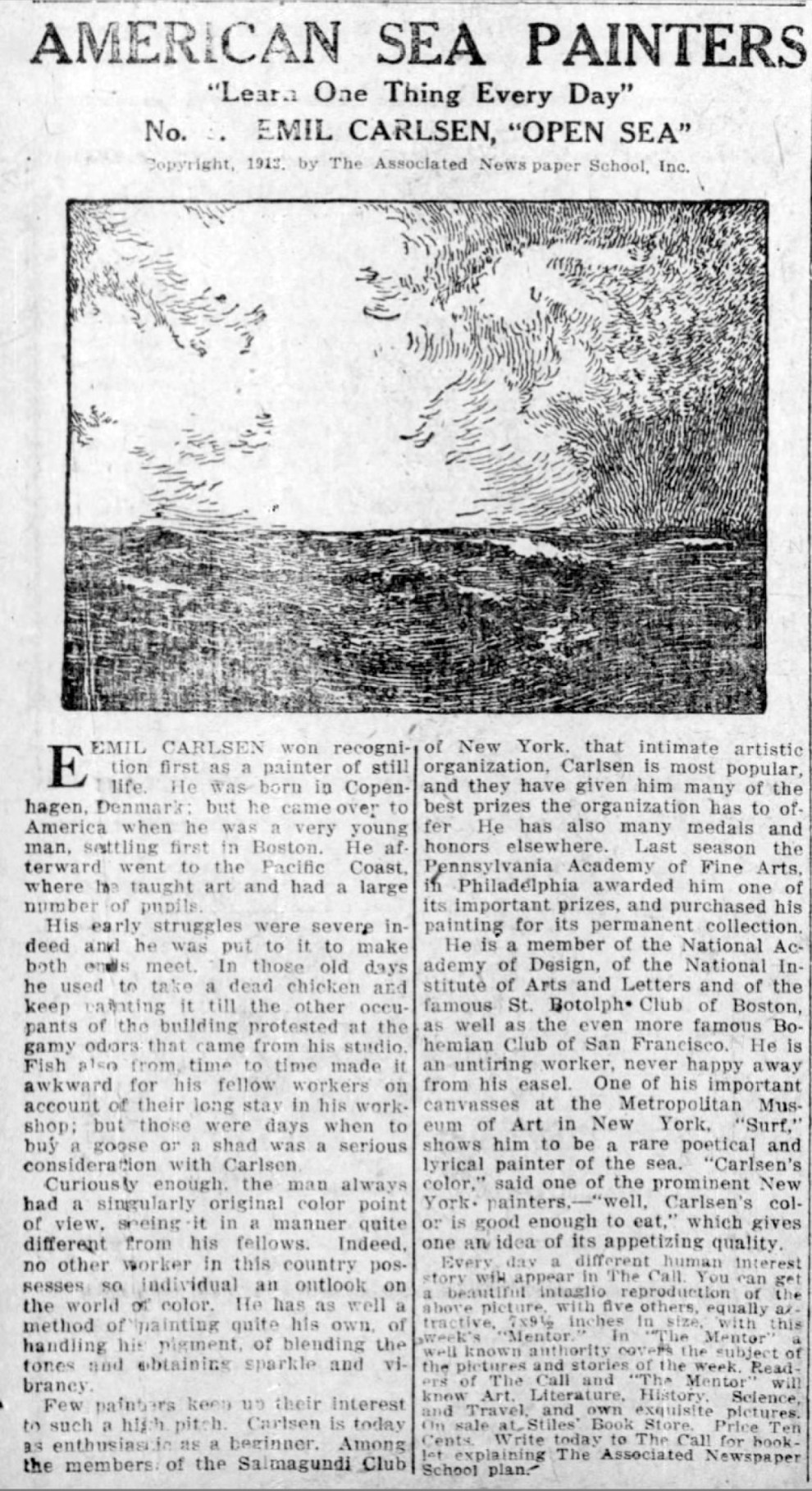 """The Morning Call, Allentown, PA, """"American sea painters : Learn one thing every day ; No.6 Emil Carlsen, Open sea"""", Saturday, July 12, 1913, page 3, illustrated: b&w"""