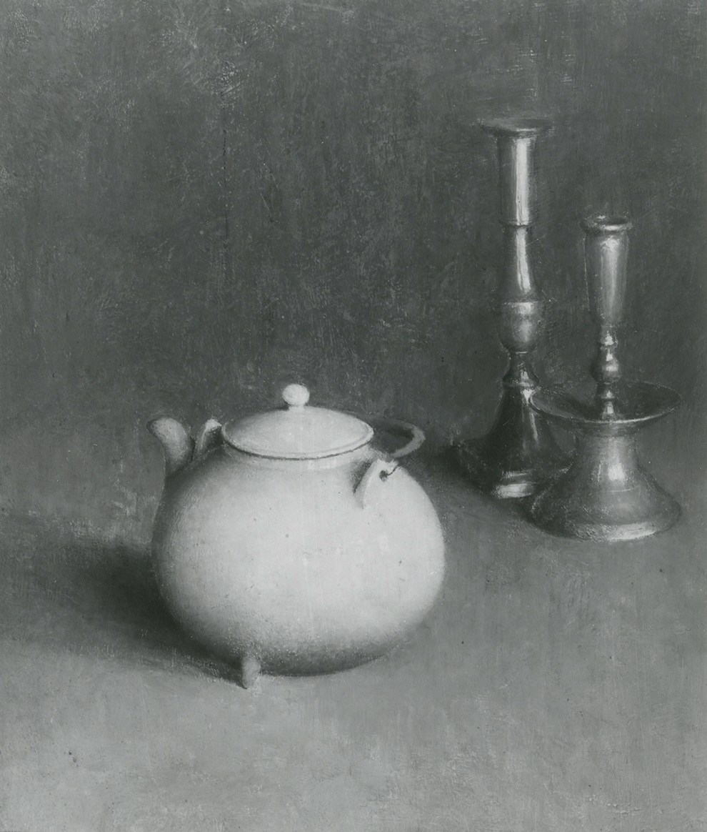 Emil Carlsen Teapot and Candlesticks (also called Kettle and Candlesticks), c.1914