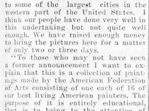 "Morning Register, Eugene, OR, ""American paintings coming to eugene : Fund guarantees display of works of art"", Friday, February 6, 1914, page 3, not illustrated."
