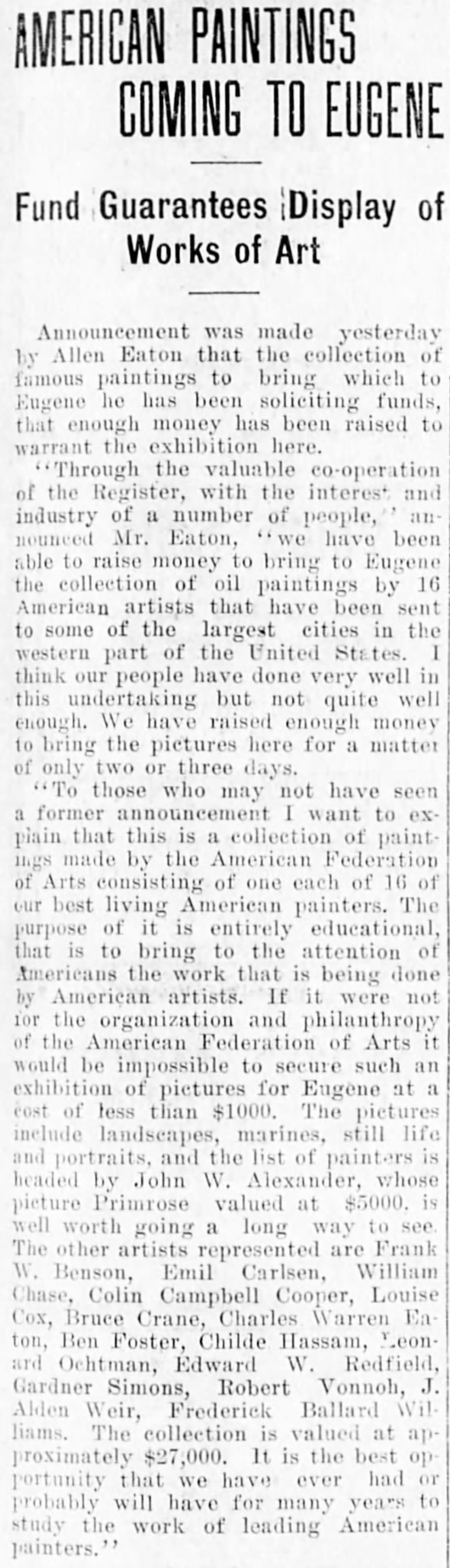 """Morning Register, Eugene, OR, """"American paintings coming to eugene : Fund guarantees display of works of art"""", Friday, February 6, 1914, page 3, not illustrated."""