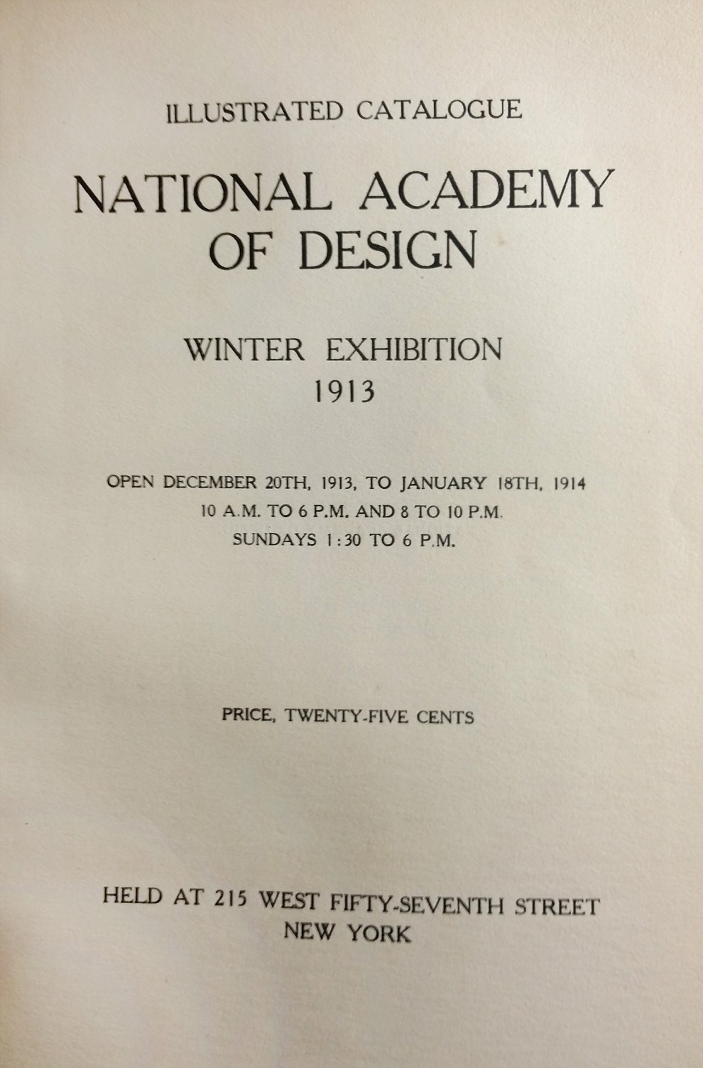 "1913 National Academy of Design, New York, NY, ""Winter Exhibition"", December 20, 1913 - January 18, 1914"