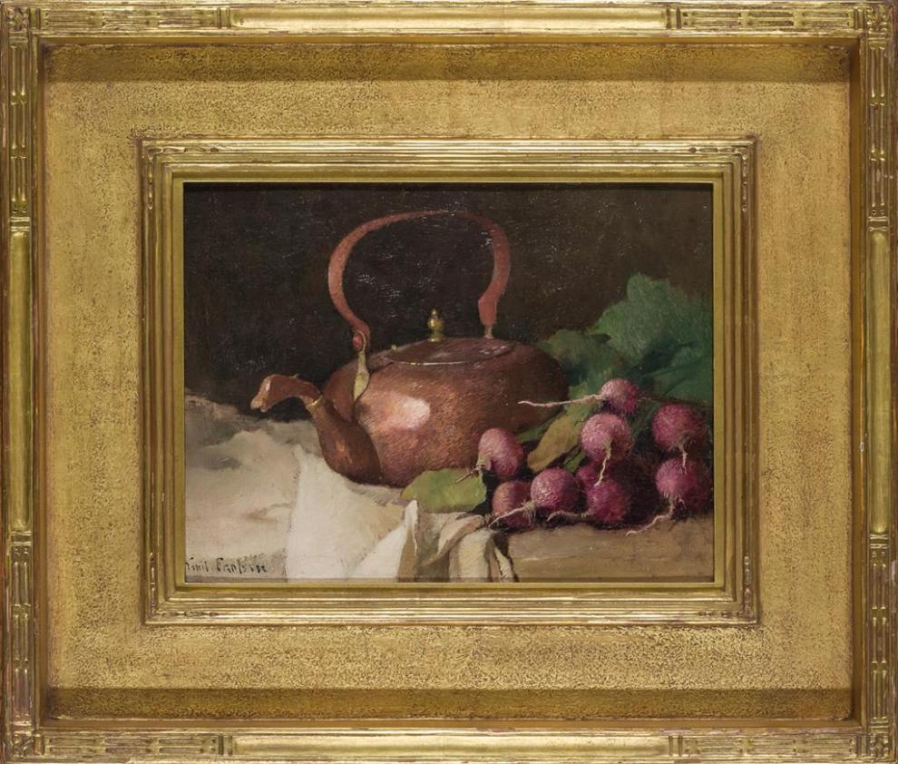 Emil Carlsen : Still life with tea kettle and radishes, ca.1915.