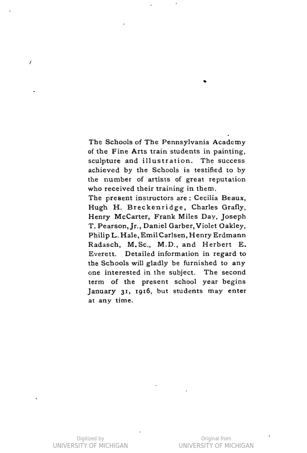 "1916 Pennsylvania Academy of Fine Arts, Philadelphia, PA, ""Catalog of the 111th Annual Exhibition"", February 6 - March 26"