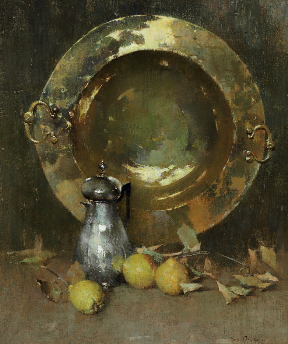 Emil Carlsen : Still life [with brazier, silver tea and quinces], ca.1918.