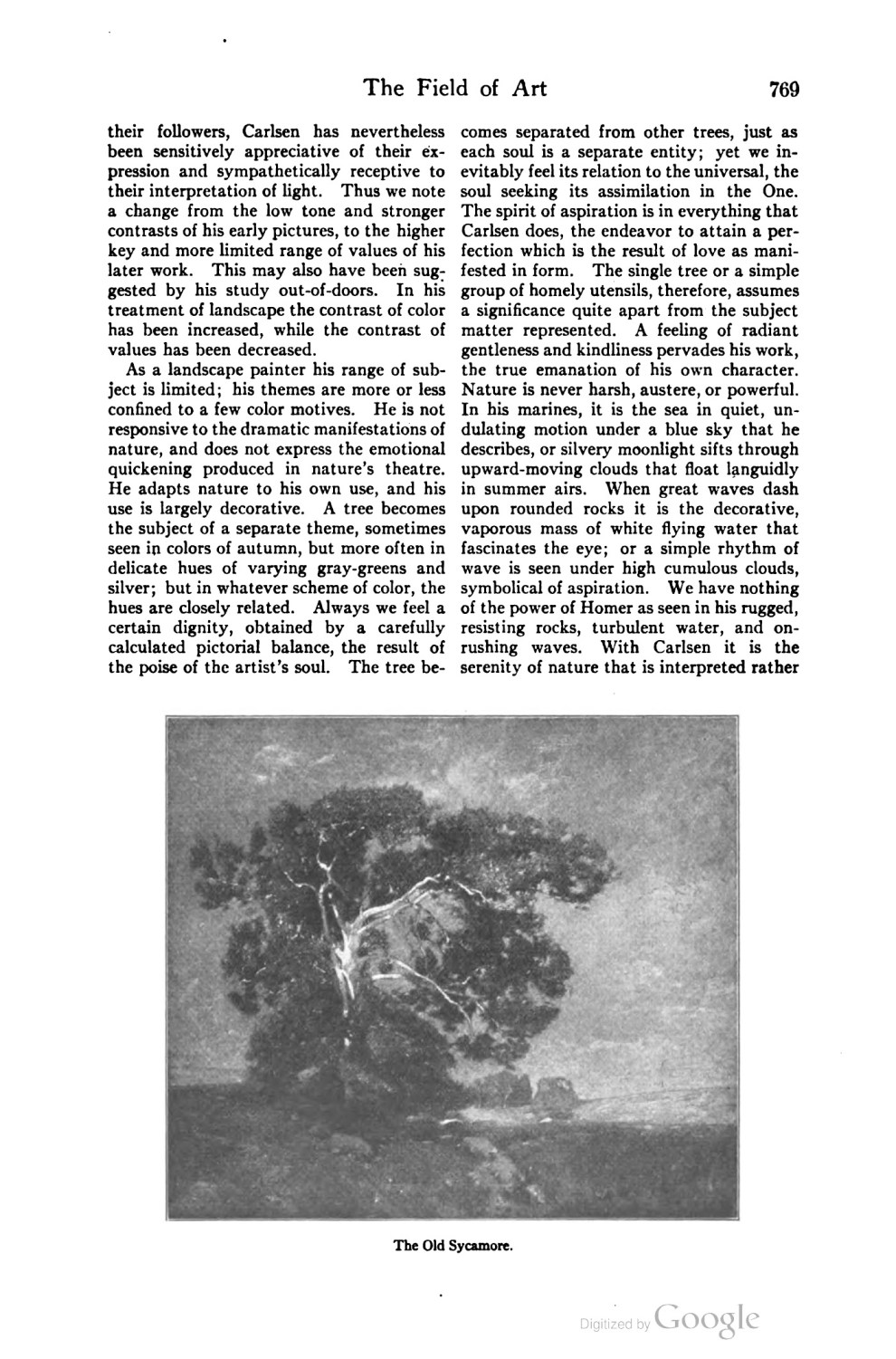 "Scribner's Magazine, New York, NY, ""The Field of Art: Emil Carlsen"" by Eliot Clark, December, 1919, page 767-770"
