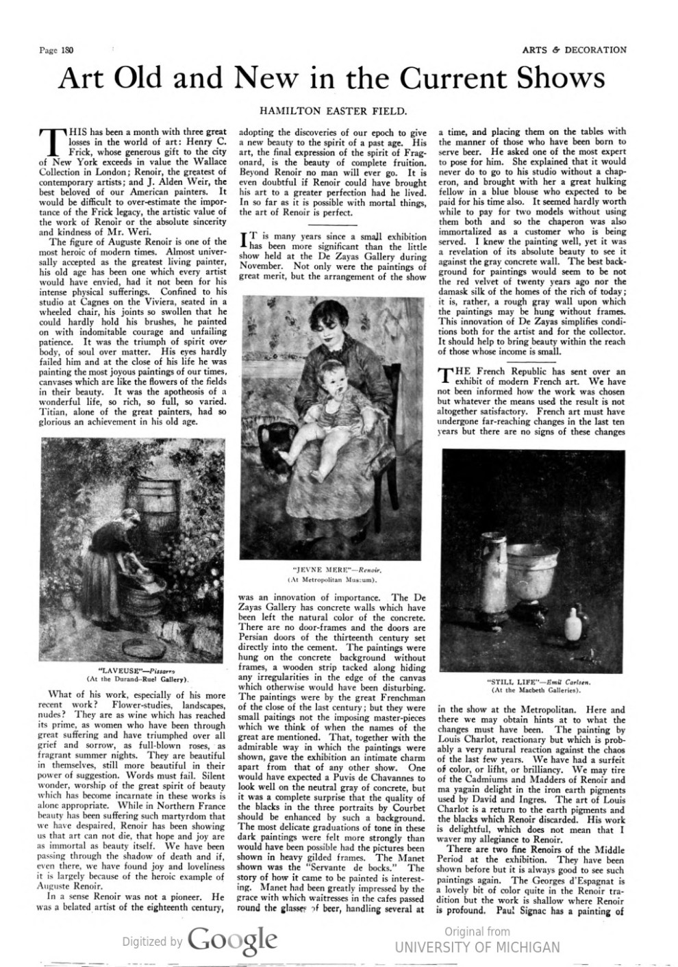 """Arts and Decoration, New York, NY, """"Art old and new in the current shows"""" by Hamilton Easter Field, January, 1920, Volume 12, Number 3, illustrated: b&w on page 180"""