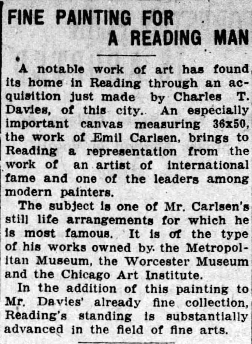 """Reading Times, Reading, PA, """"Fine painting for a reading man"""", Friday, September 24, 1920, page 10, not illustrated"""