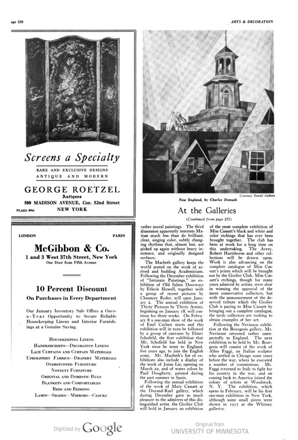 "Arts and Decoration, New York, NY, ""At the Galleries"", January, 1921, Volume 14, Number 3, page 230, not illustrated"