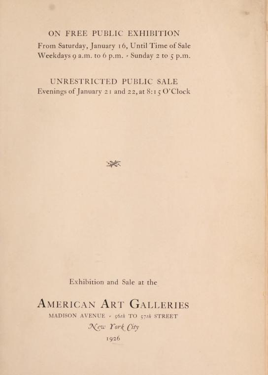 """1926 American Art Association [1883-1964], New York, NY, """"The Samuel T. Shaw collection"""", January 16-22."""