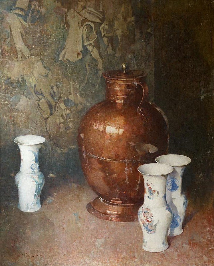 Emil Carlsen Ming Vases (also known as Still Life & Copper and Porcelain), 1928