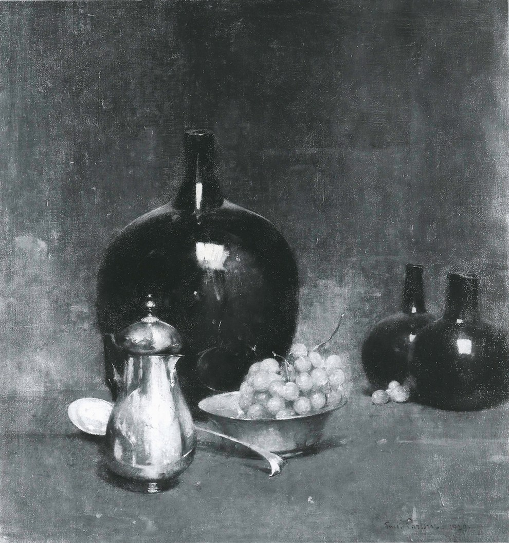 Emil Carlsen Black and Silver (also called Still Life Arrangement & Green Grapes), 1929