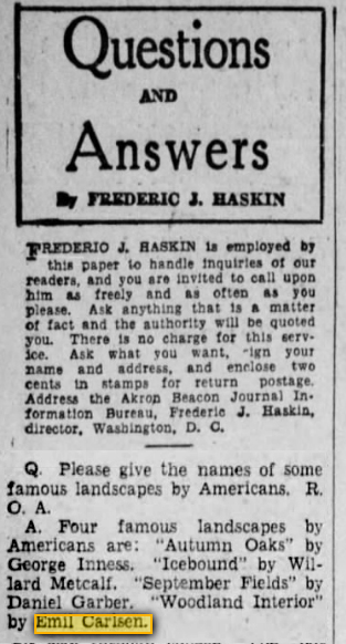 "Akron Beacon Journal, Akron, OH, ""Questions and Answers"" by Frederic J. Haskin, Friday, October 11, 1929, page 34, not illustrated"