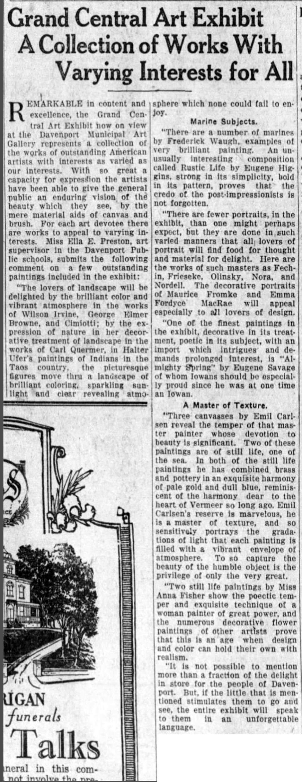 """Quad-City Times, Davenport, IA, """"Grand Central Art exhibit a collection of works with varying interest for all"""", Monday, November 11, 1929, page 14, not illustrated."""