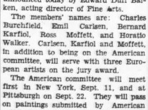 "Pittston Gazette, Pittston, PA, ""Carnegie exhibition"", Thursday, June 5, 1930, page 2, no illustration."