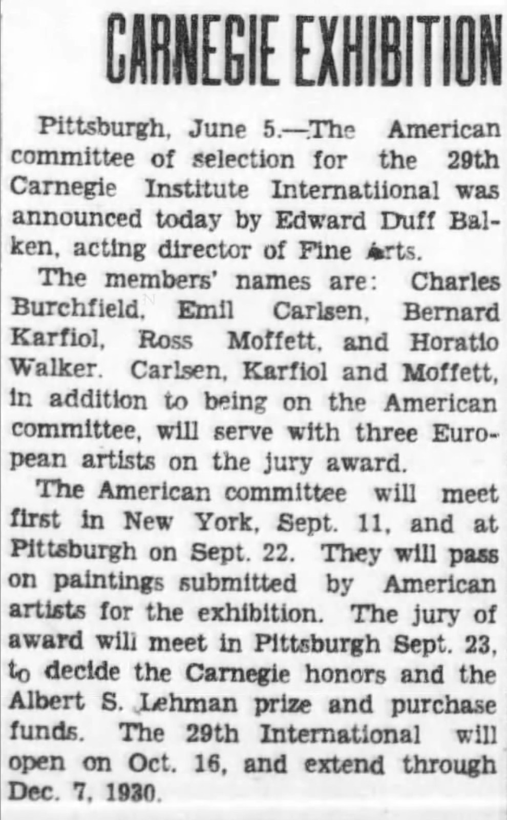 "Pittston Gazette, Pittston, PA, ""Carnegie exhibition"", Thursday, June 5, 1930, page 2, no illustration."