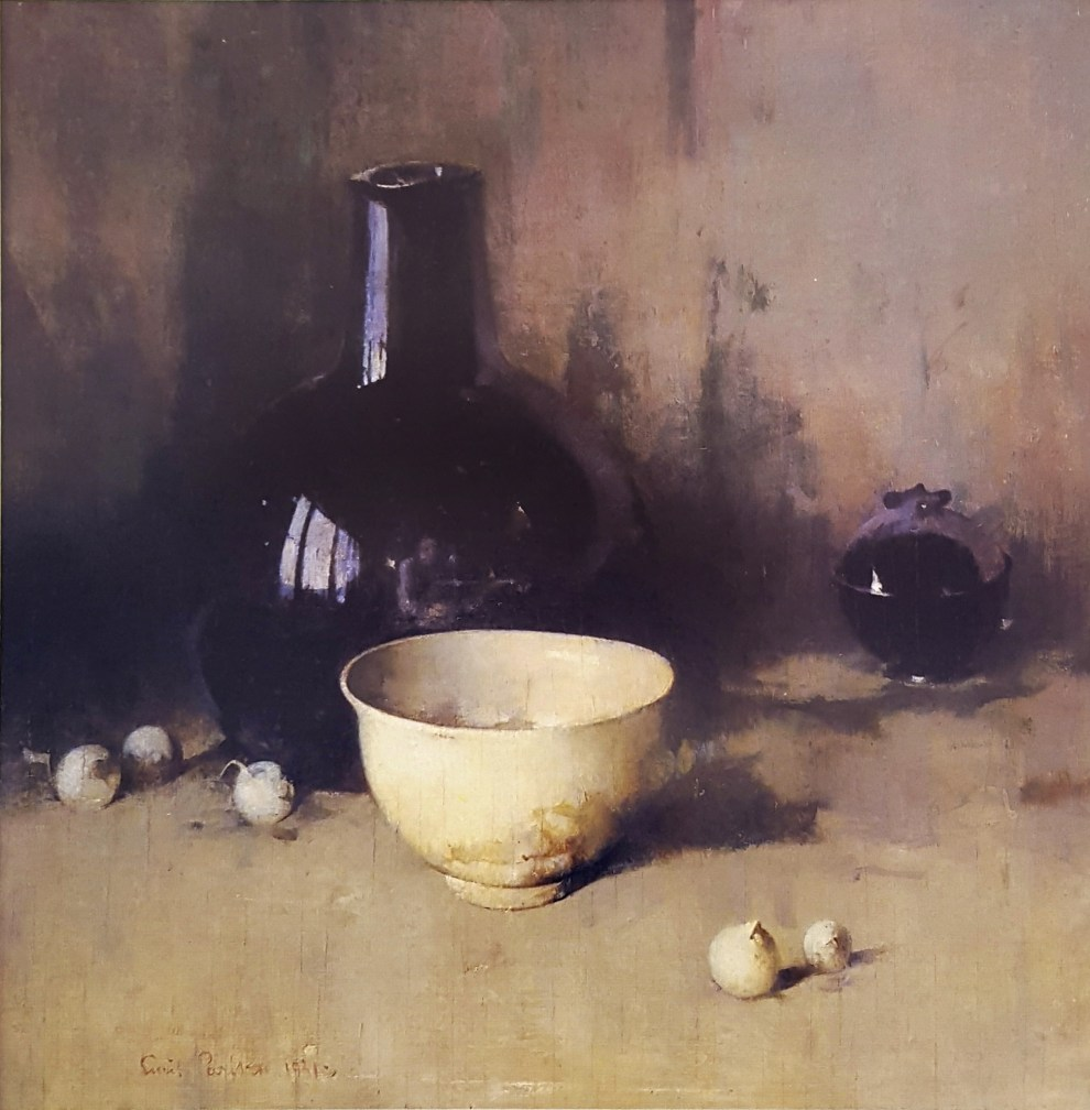 Emil Carlsen : Still life with self-portrait, 1931.