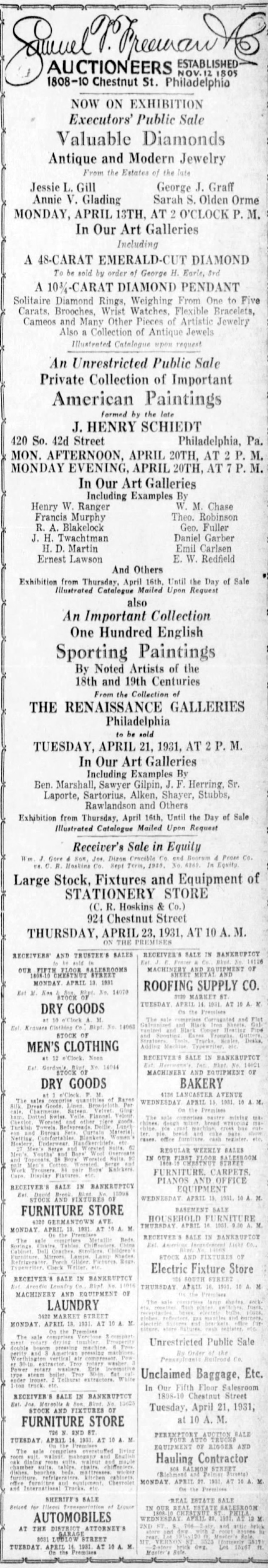 "1931 Philadelphia Inquirer, Philadelphia, PA, ""Samuel T. Freeman [auction ad]"", Saturday, April 11, page 27, not illustrated"