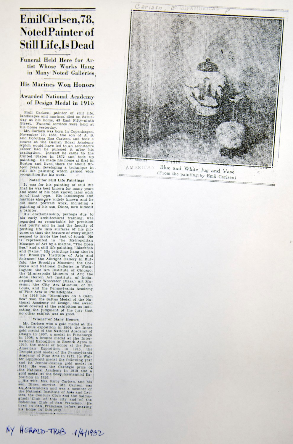 "New York Tribune, New York, NY, ""Emil Carlsen, 78, Noted Painter of Still Life, Is Dead"", January 2, 1932"