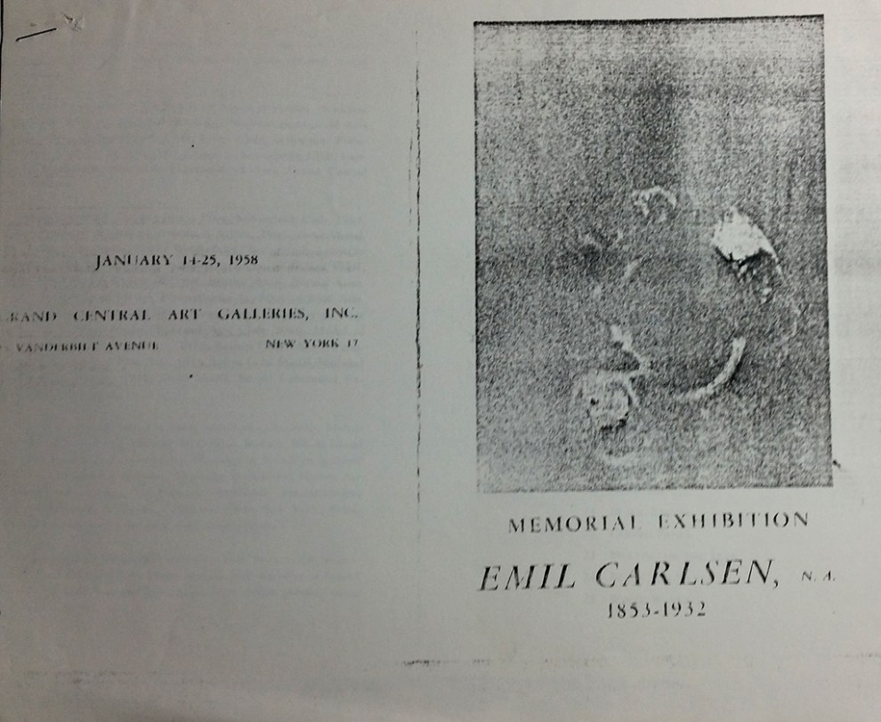 """1958 The Grand Central Art Gallery, New York, NY, """"Memorial Exhibition of Emil Carlsen, N. A. 1853-1932"""", January 14-25"""
