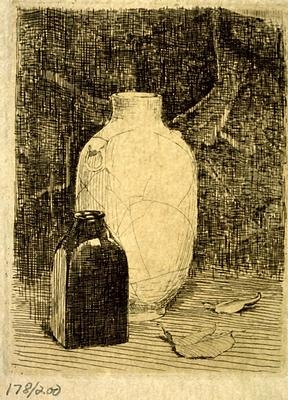 Fig. 25. Still Life with Vase and Bottle, etching, 3-7/8 x 3 in. Butler Institute of American Art, Youngstown, OH
