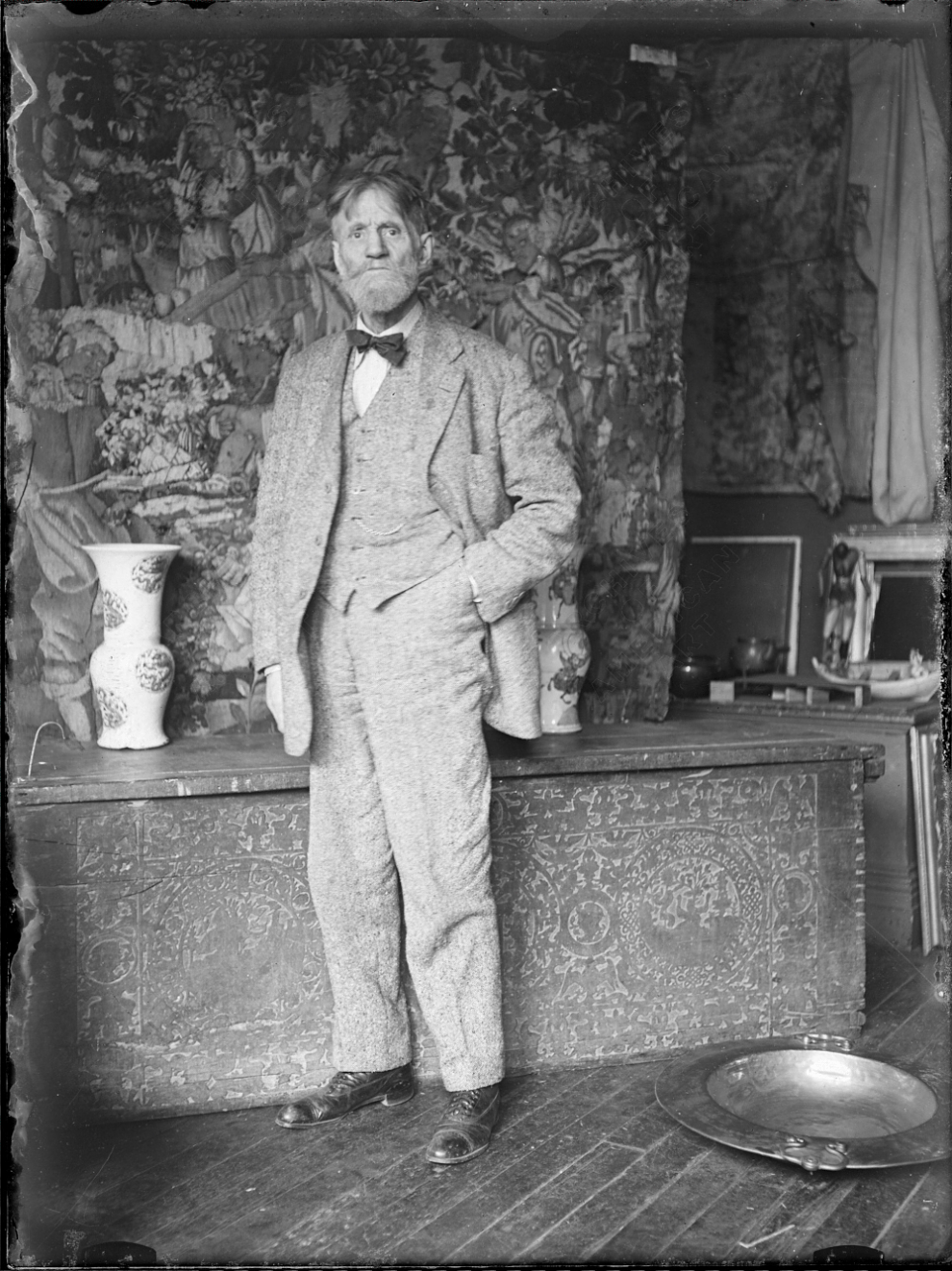 Fig. 1. Emil Carlsen, in studio with objects and furnishings used in his still-life paintings, c.1925