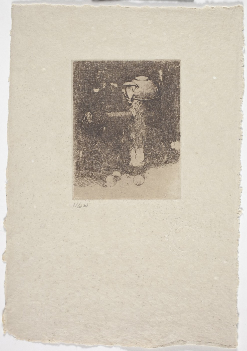 Fig. 26. Still Life with Copper and Onions, etching, 4-1/4 x 3-1/2 in. Butler Institute of American Art,  Youngstown, OH  Carlsen's brief experiment with etching produced these still-life image s, which were printed posthumously.