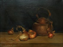 Emil Carlsen Still Life with Onions & Copper Kettle 1887