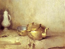 Emil Carlsen : Copper kettle and porcelain coffee pot, ca.1910.