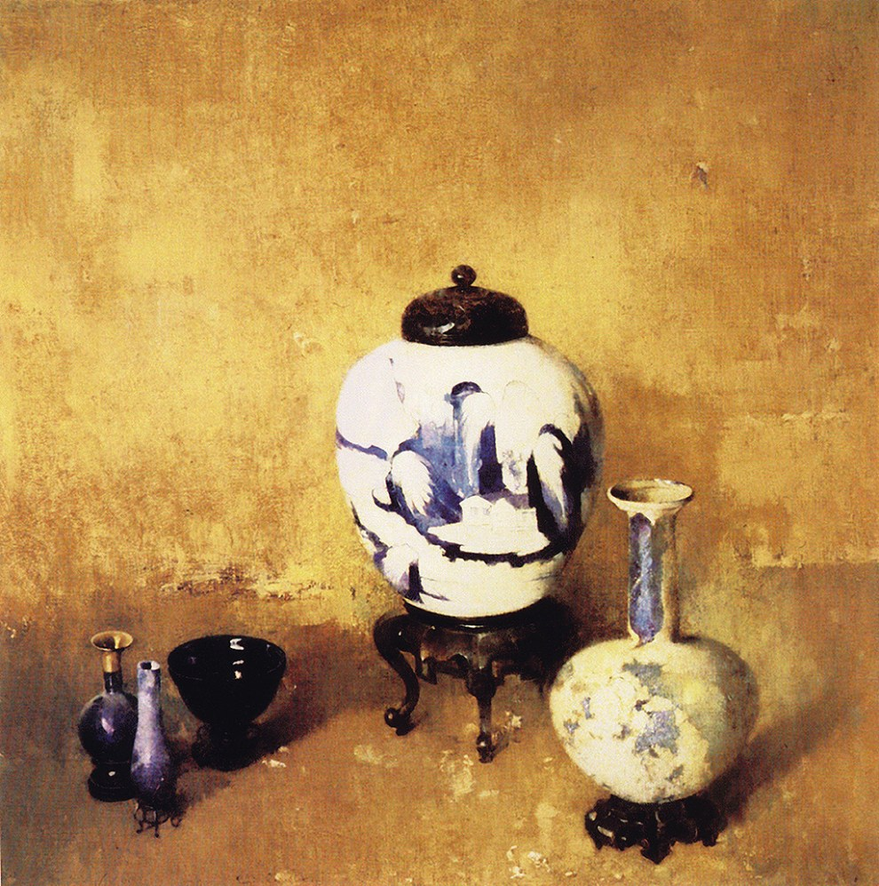 Emil Carlsen : Blue and white jug and vase, ca.1914.