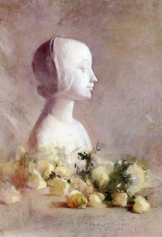 Emil Carlsen Still Life with Bust and White Roses 1883
