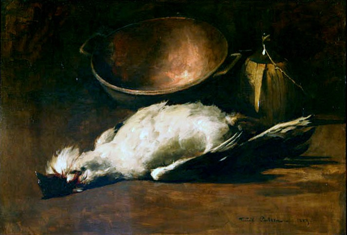 Emil Carlsen Still Life of Game Bird and Wine Bottle, 1883