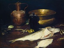 Emil Carlsen : Still life with fish, 1882.
