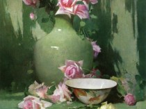 Emil Carlsen : Vase of roses with porcelain bowl, 1895.