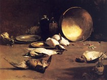 Emil Carlsen Still life, brass bowl, ducks and bottles, 1883