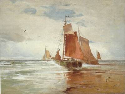 Emil Carlsen : Anchored on the shore, ca.1881.