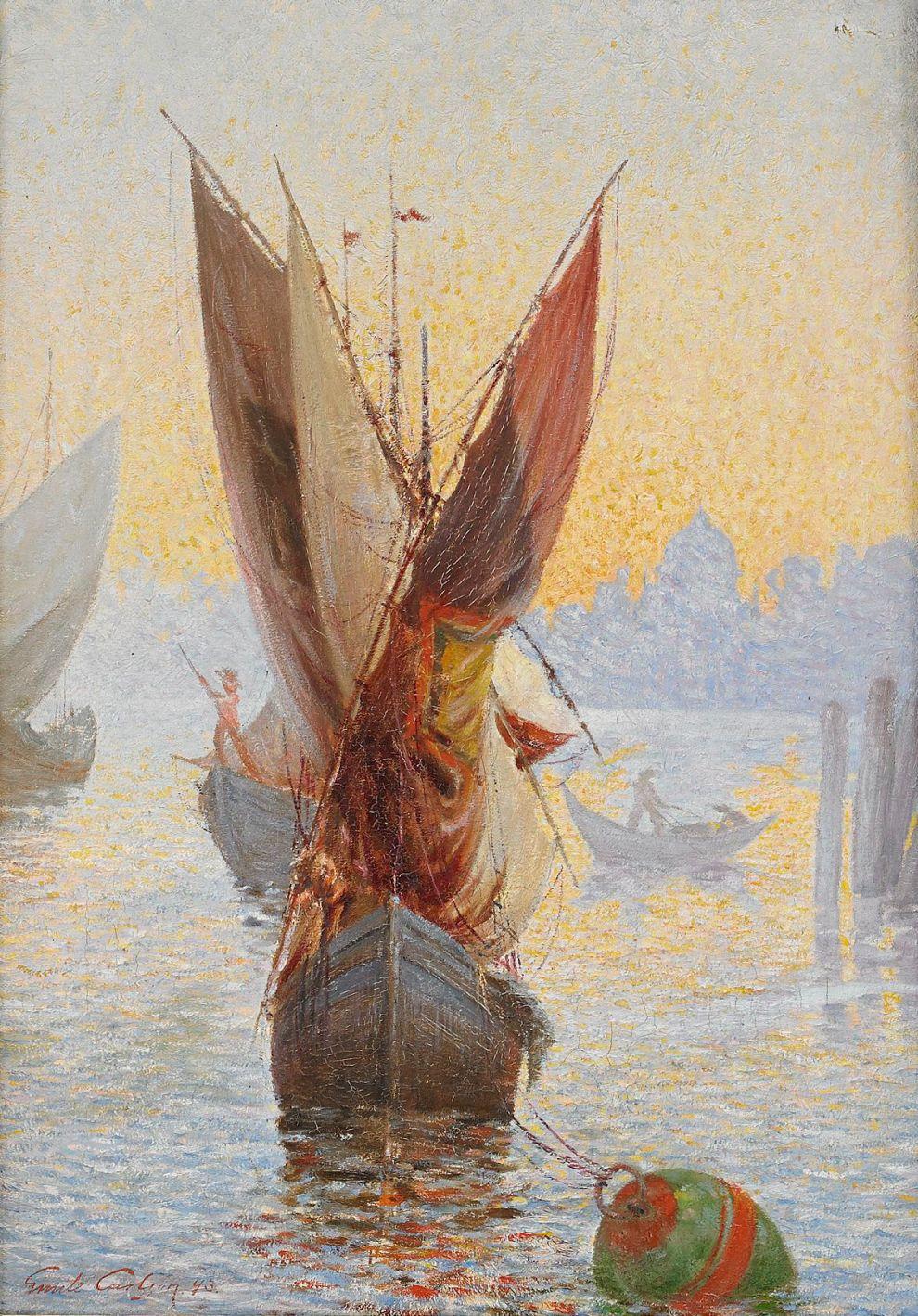 Emil Carlsen Sailing Ship at Dawn on the Lagoon of Venice, 1893