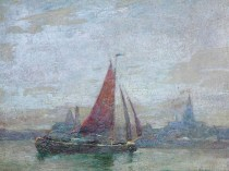 Emil Carlsen : Sailboat on the sea, 1915.