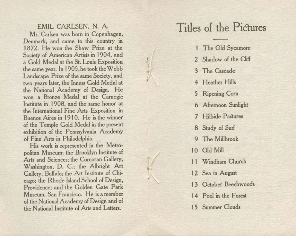 Exhibition of paintings by Emil Carlsen