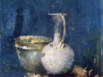 Emil Carlsen : Untitled [still life of ewer, bowl and flowers], ca.1919.
