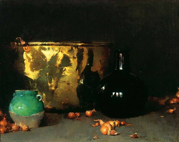 Emil Carlsen Still Life with a Brass Kettle and Shallots, 1904