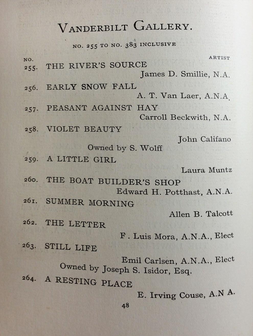"1904 National Academy of Design, New York, NY, ""Seventy-Ninth Annual Exhibition"", January 2-30"