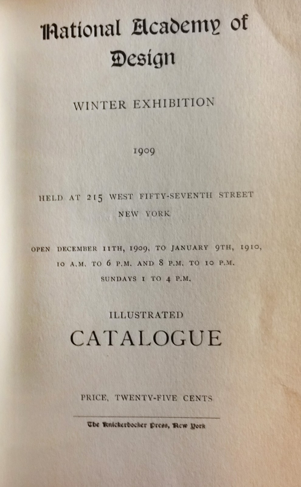 "1909 National Academy of Design, New York, NY, ""Winter Exhibition"", December 11, 1909 - January 9, 1910"