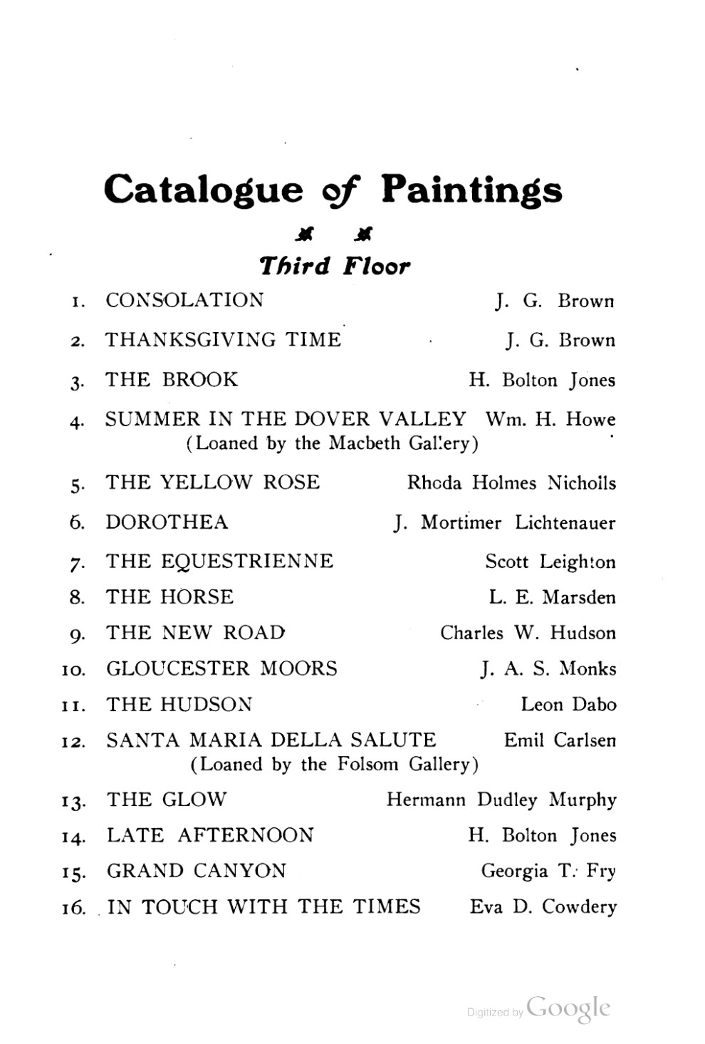 "1909 Poland Spring Art Gallery, Maine State Building, South Portland, ME, ""Fifteenth Annual Exhibition of Paintings by Prominent Artists"", 1909"