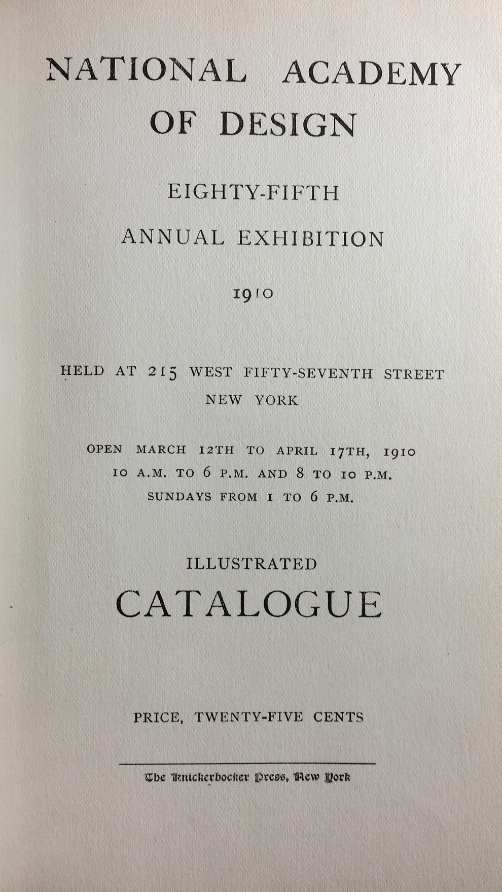 "1910 National Academy of Design, New York, NY, ""Eighty-Fifth Annual Exhibition"", March 12 - April 17"