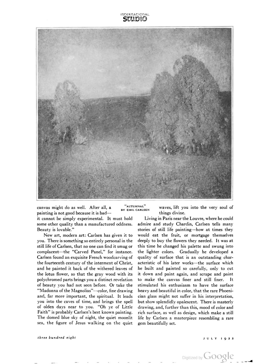 "The International Studio, ""Emil Carlsen – Painter, Teacher"" by F. Newlin Price, July, 1922, Volume 75, Number 302, pg. 300-308"