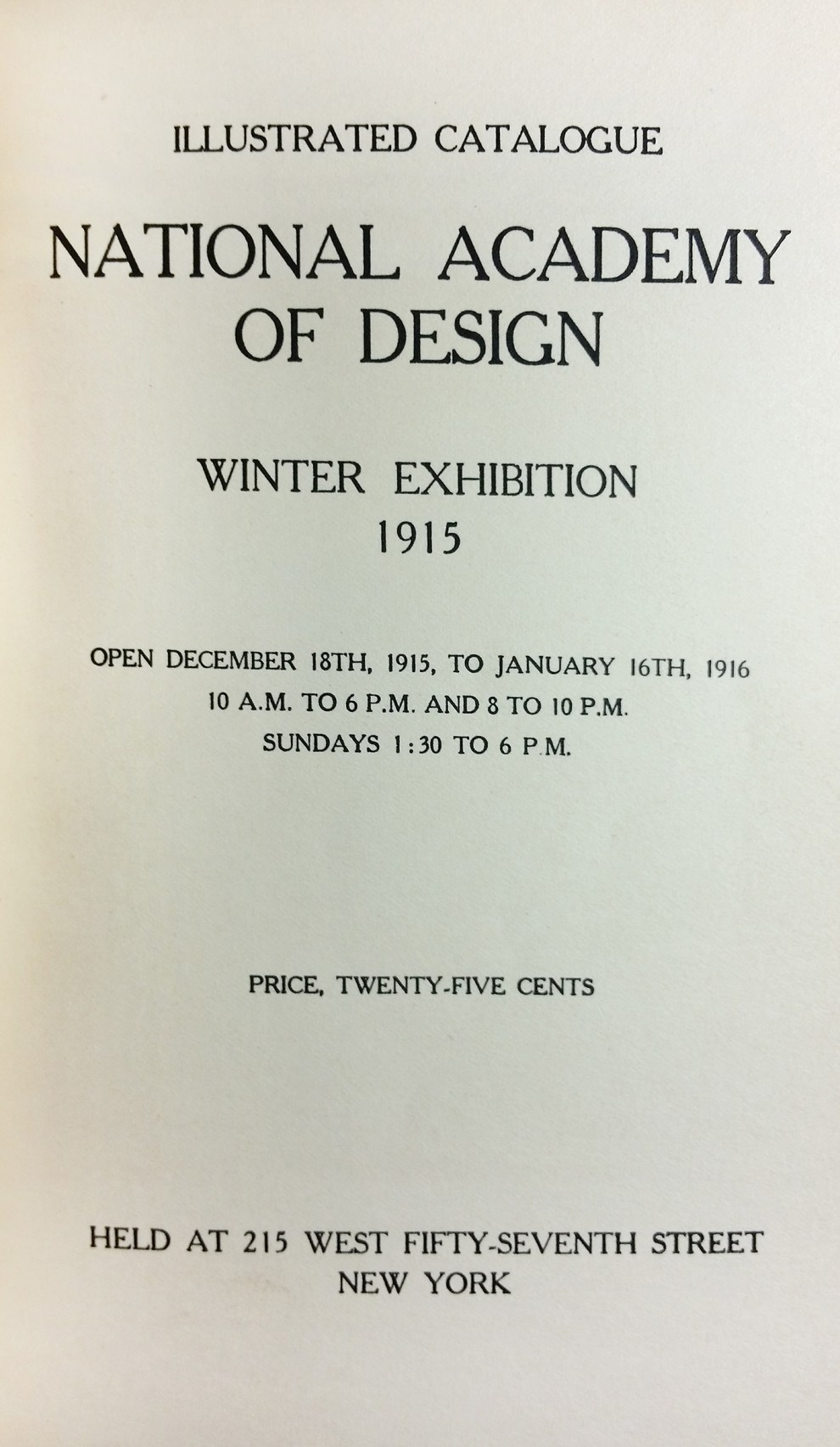 "1915 National Academy of Design, New York, NY, ""Winter Exhibition"", December 18, 1915 - January 16, 1916"
