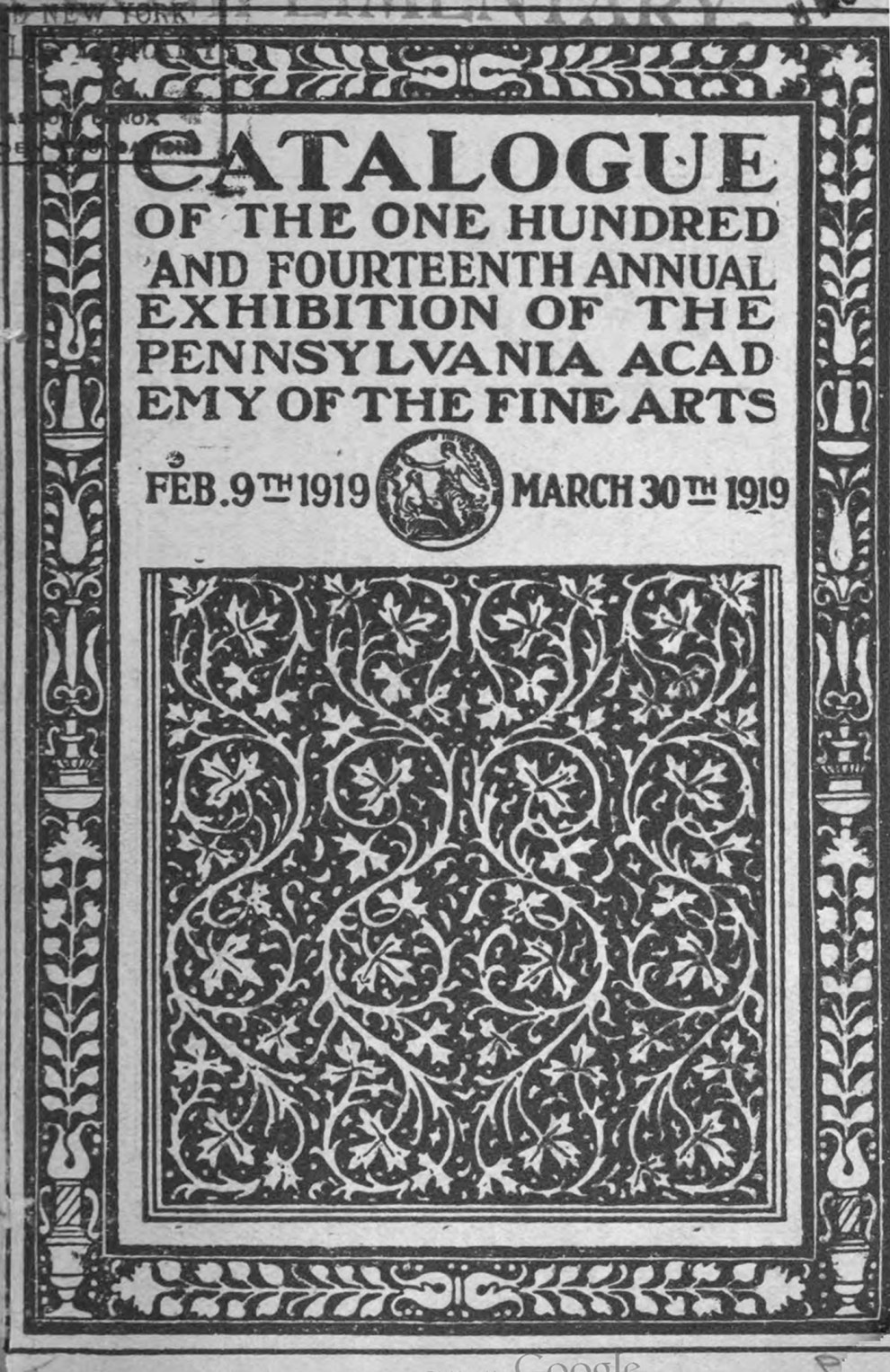 "1919 Pennsylvania Academy of the Fine Arts, Philadelphia, PA, ""One Hundred and Fourteenth Annual Exhibition"", February 9 - March 30"