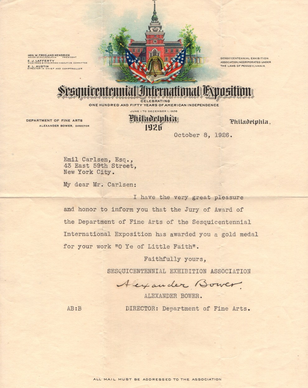 """Sesquicentennial International Exposition Gold Medal for O Ye of Little Faith"" provided by Linda Hay, Fair Grounds for the World's Fair, Philadelphia, PA, October 8, 1926"