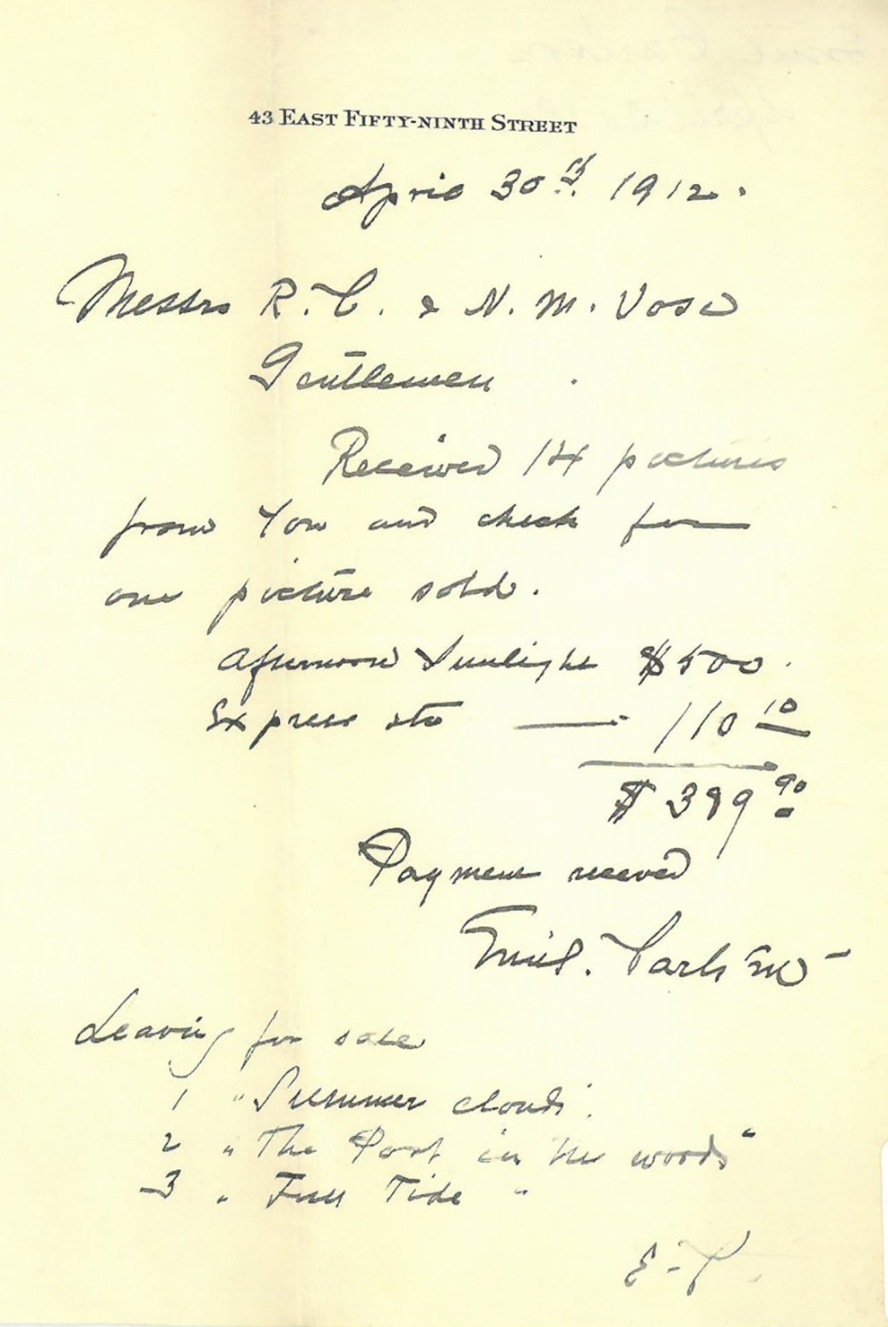 "- ""Emil Carlsen Letter Confirming Payment Received from Vose Gallery"" provided by Vose Gallery, April 30, 1912"